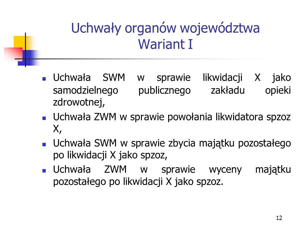 12 Uchwały organów województwa Wariant I Uchwała SWM w sprawie likwidacji X jako samodzielnego publicznego zakładu opieki zdrowotnej, Uchwała ZWM w sp