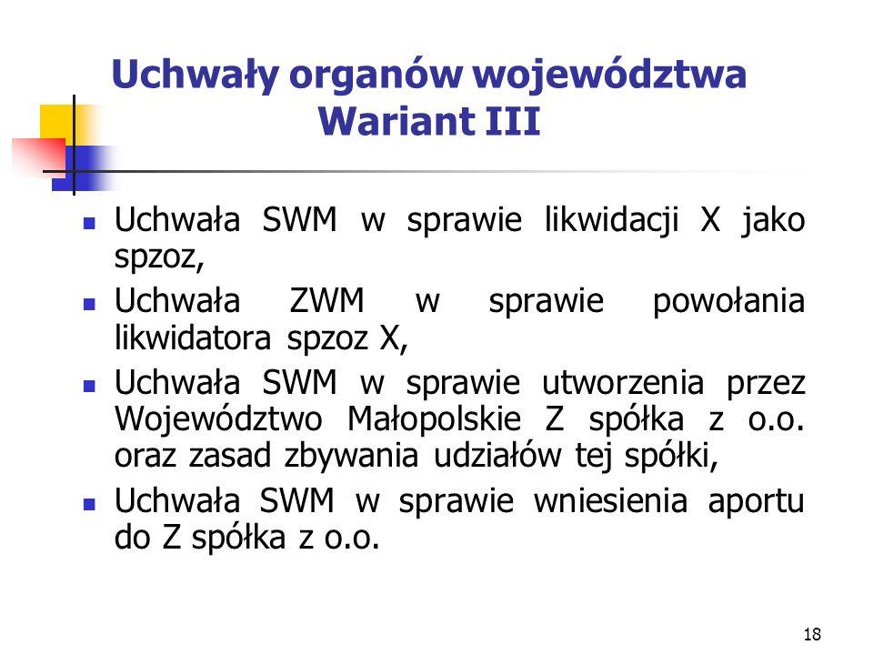 18 Uchwały organów województwa Wariant III Uchwała SWM w sprawie likwidacji X jako spzoz, Uchwała ZWM w sprawie powołania likwidatora spzoz X, Uchwała