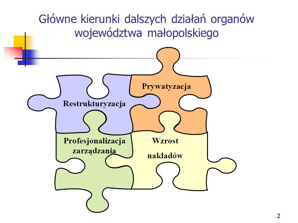 2 Główne kierunki dalszych działań organów województwa małopolskiego Restrukturyzacja Prywatyzacja Profesjonalizacja zarządzania Wzrost nakładów