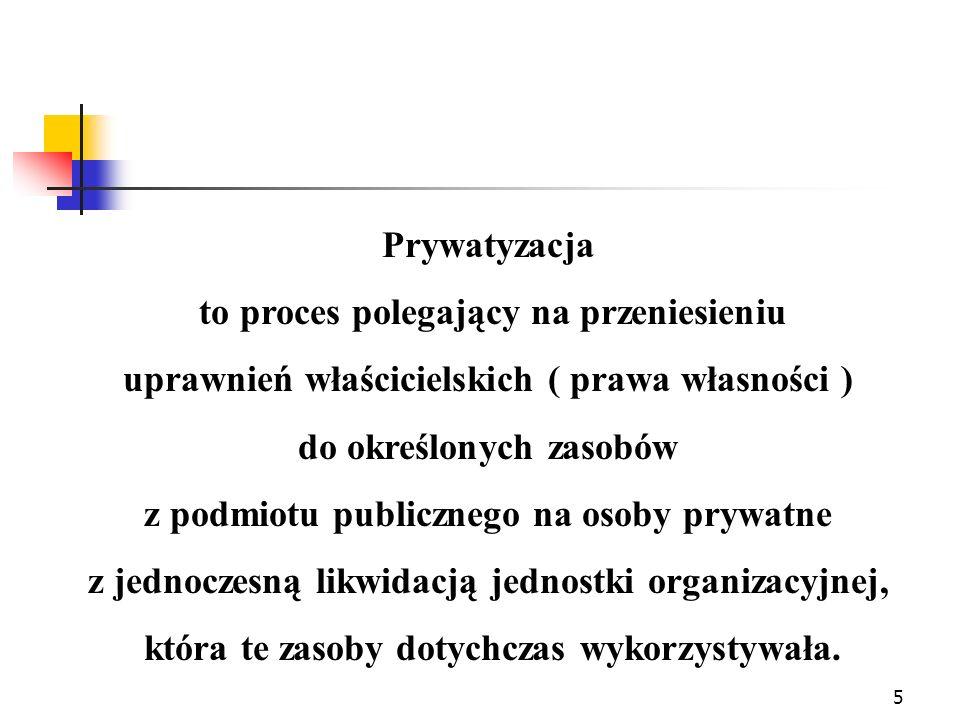 5 Prywatyzacja to proces polegający na przeniesieniu uprawnień właścicielskich ( prawa własności ) do określonych zasobów z podmiotu publicznego na os