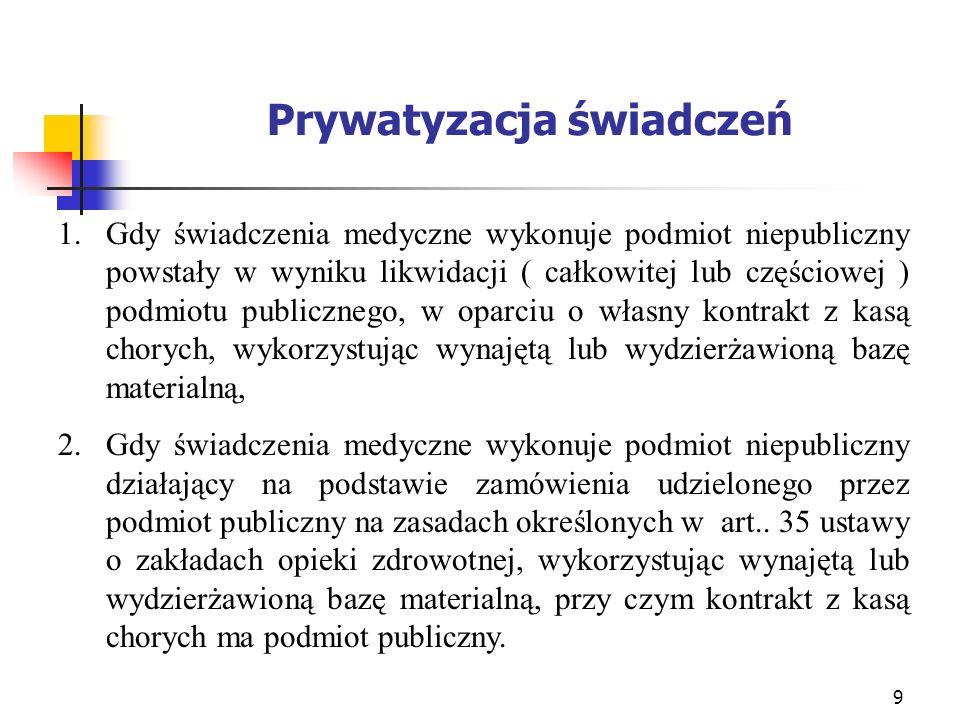9 Prywatyzacja świadczeń 1.Gdy świadczenia medyczne wykonuje podmiot niepubliczny powstały w wyniku likwidacji ( całkowitej lub częściowej ) podmiotu