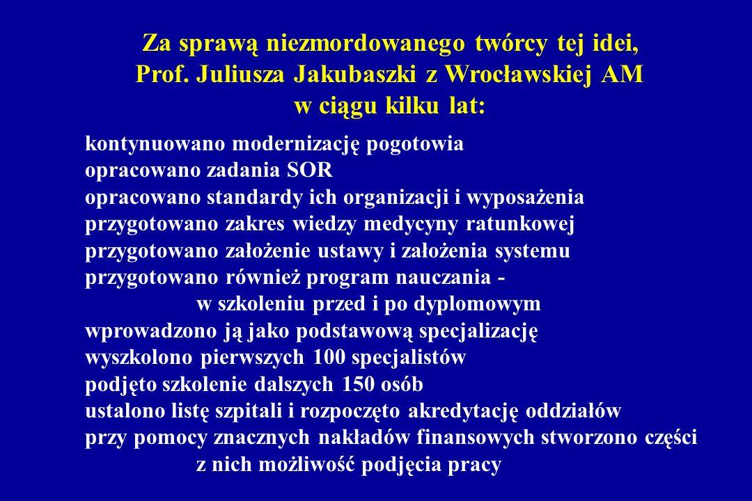 Za sprawą niezmordowanego twórcy tej idei, Prof. Juliusza Jakubaszki z Wrocławskiej AM w ciągu kilku lat: kontynuowano modernizację pogotowia opracowa