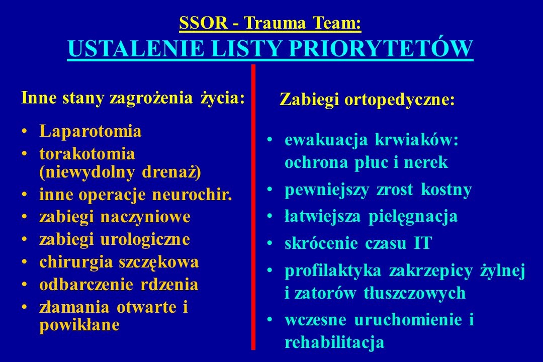 SSOR - Trauma Team: USTALENIE LISTY PRIORYTETÓW Inne stany zagrożenia życia: Laparotomia torakotomia (niewydolny drenaż) inne operacje neurochir. zabi
