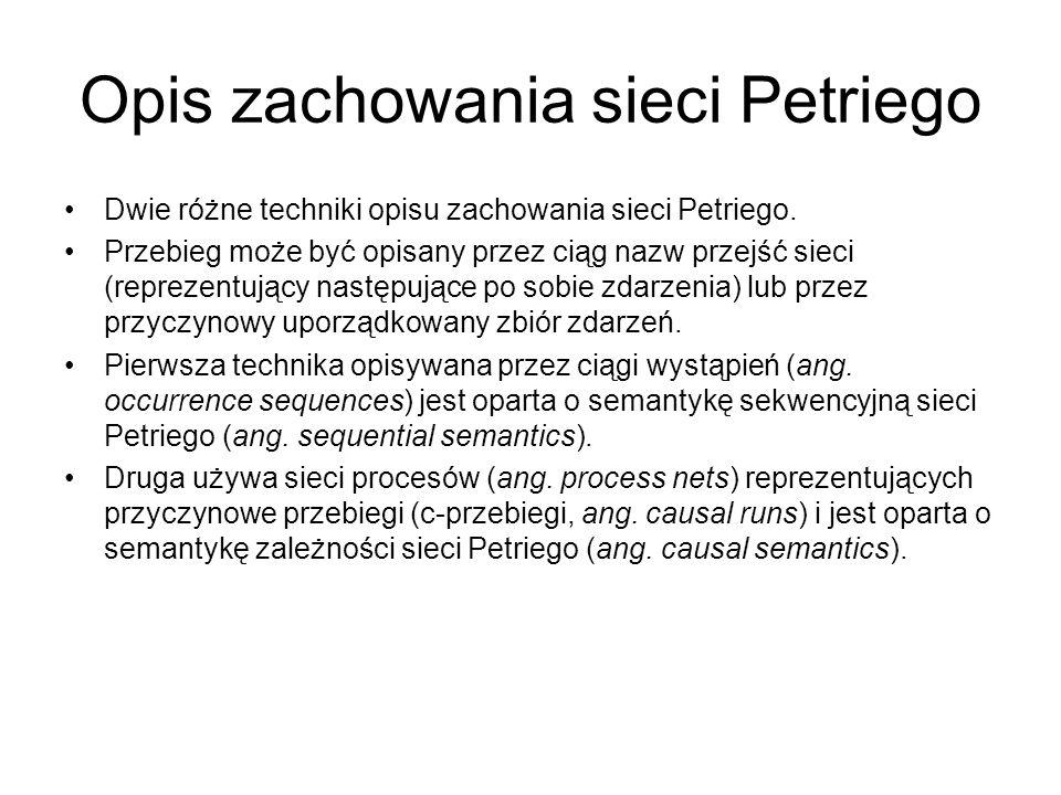 Opis zachowania sieci Petriego Dwie różne techniki opisu zachowania sieci Petriego. Przebieg może być opisany przez ciąg nazw przejść sieci (reprezent