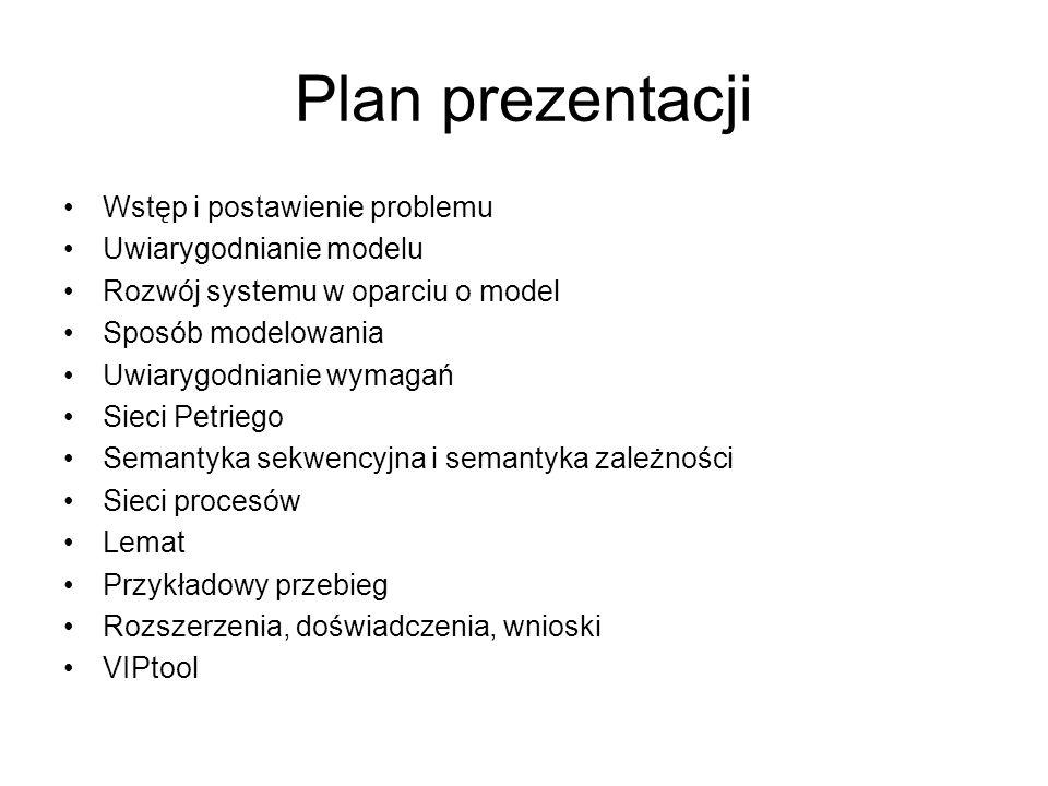 Plan prezentacji Wstęp i postawienie problemu Uwiarygodnianie modelu Rozwój systemu w oparciu o model Sposób modelowania Uwiarygodnianie wymagań Sieci