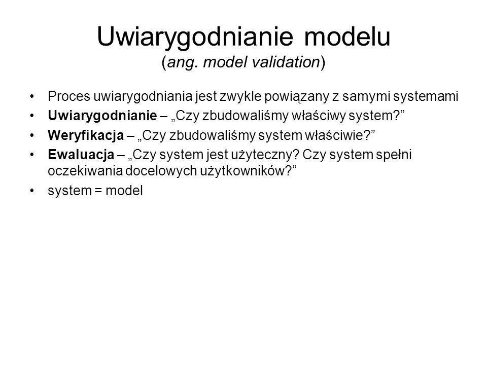 Uwiarygodnianie modelu (ang. model validation) Proces uwiarygodniania jest zwykle powiązany z samymi systemami Uwiarygodnianie – Czy zbudowaliśmy właś