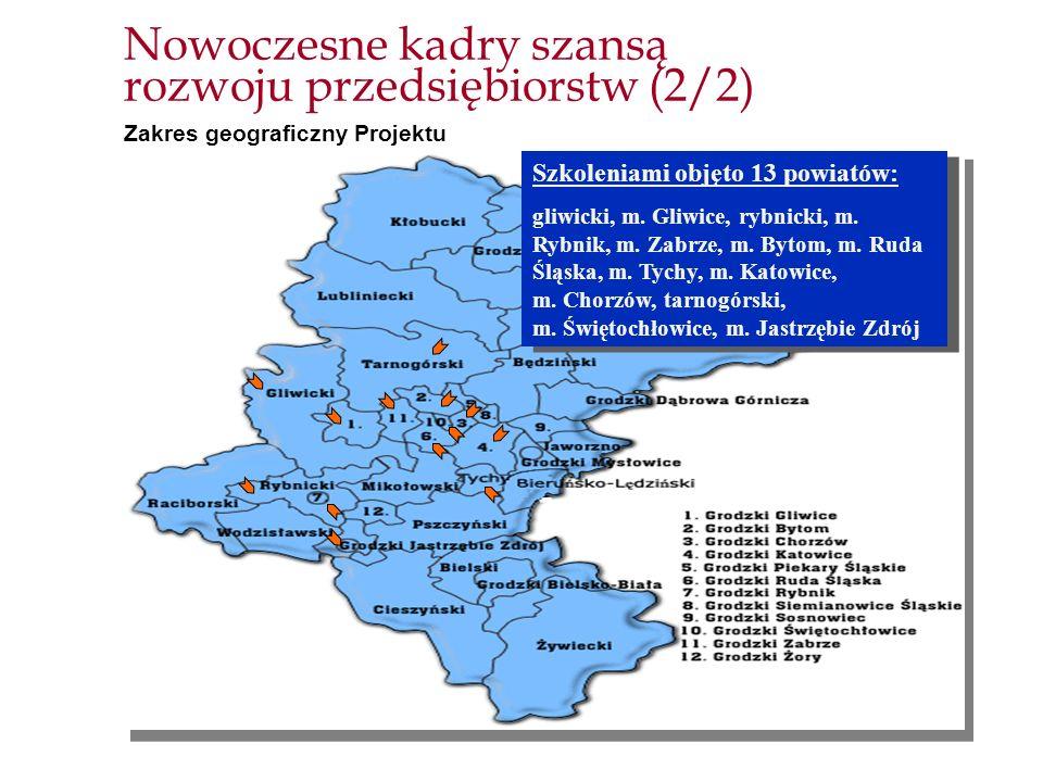 Nowoczesne kadry szansą rozwoju przedsiębiorstw (2/2) Zakres geograficzny Projektu Szkoleniami objęto 13 powiatów: gliwicki, m. Gliwice, rybnicki, m.