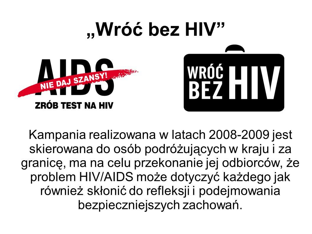 Wróć bez HIV Kampania realizowana w latach 2008-2009 jest skierowana do osób podróżujących w kraju i za granicę, ma na celu przekonanie jej odbiorców,