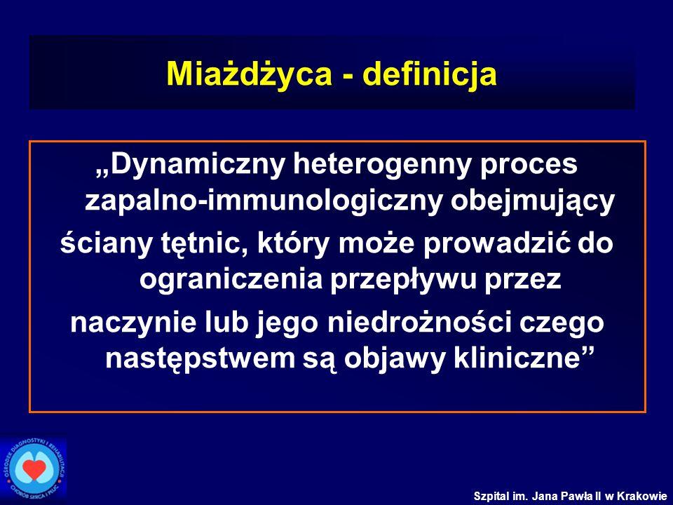 Szpital im. Jana Pawła II w Krakowie Miażdżyca - definicja Dynamiczny heterogenny proces zapalno-immunologiczny obejmujący ściany tętnic, który może p