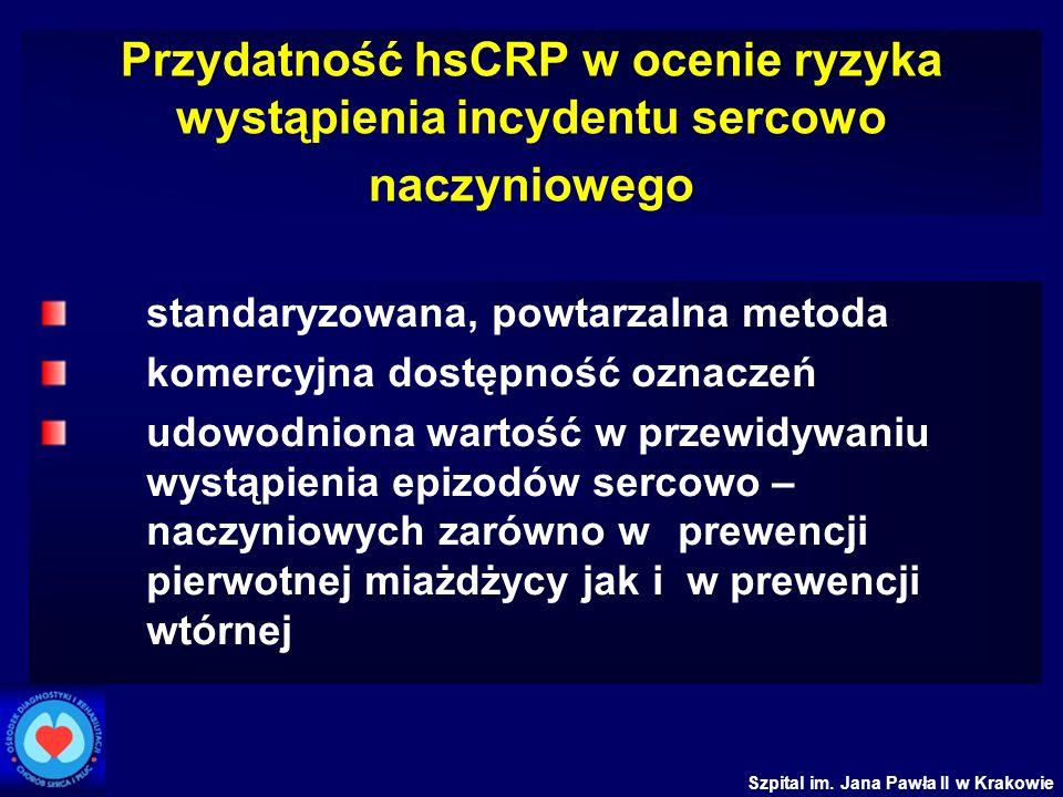 Szpital im. Jana Pawła II w Krakowie Przydatność hsCRP w ocenie ryzyka wystąpienia incydentu sercowo naczyniowego standaryzowana, powtarzalna metoda k