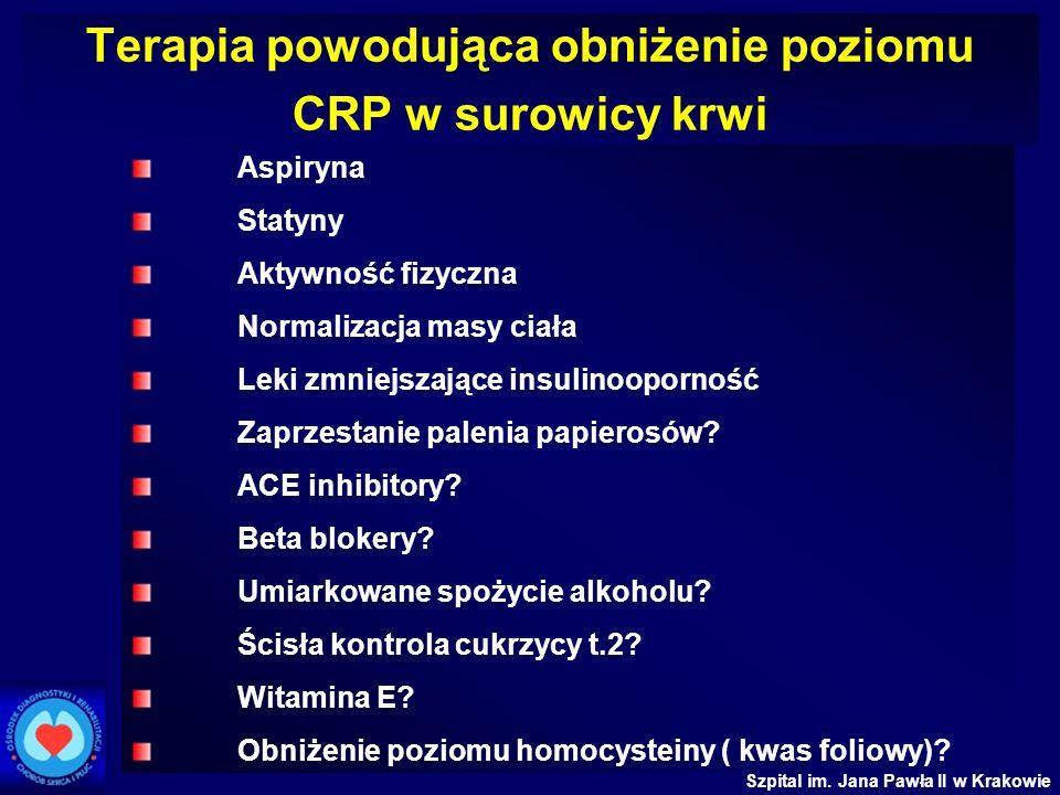 Szpital im. Jana Pawła II w Krakowie Terapia powodująca obniżenie poziomu CRP w surowicy krwi Aspiryna Statyny Aktywność fizyczna Normalizacja masy ci