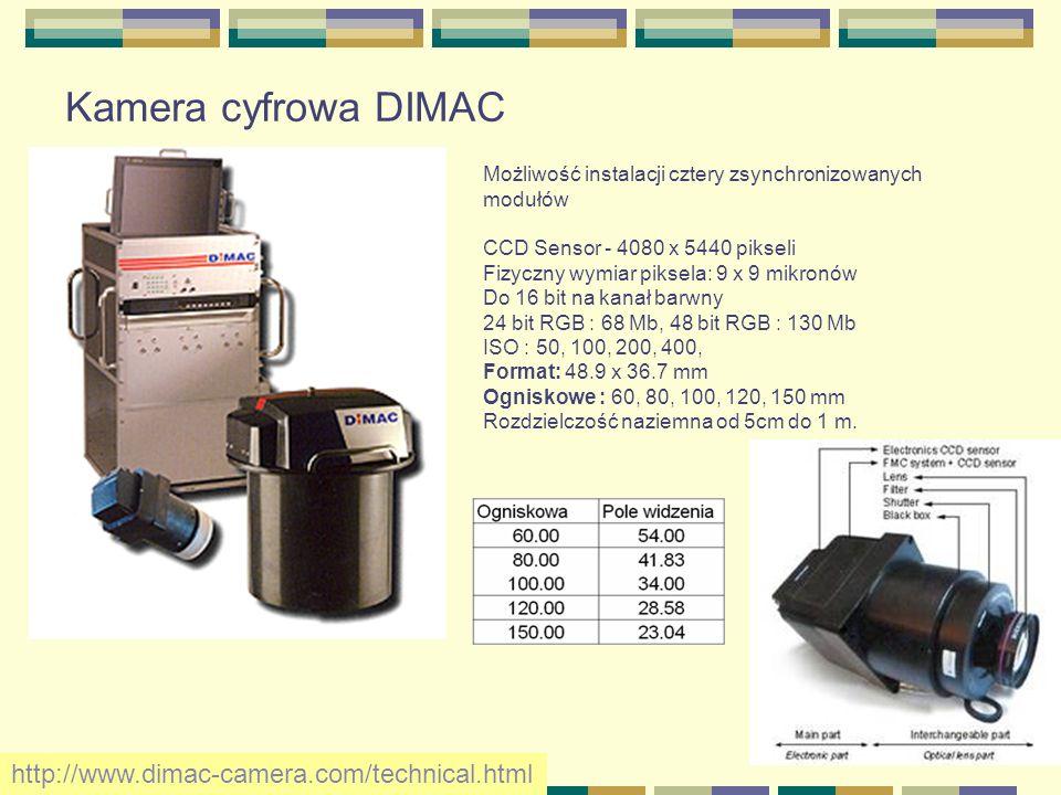 Kamera cyfrowa DIMAC Możliwość instalacji cztery zsynchronizowanych modułów CCD Sensor - 4080 x 5440 pikseli Fizyczny wymiar piksela: 9 x 9 mikronów D