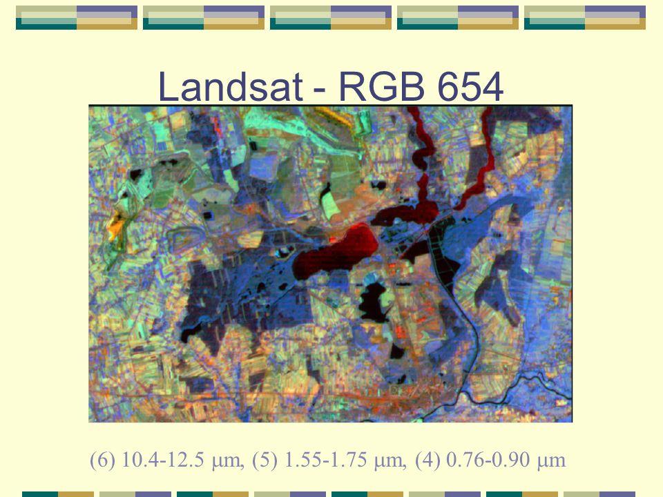 Landsat - RGB 654 (6) 10.4-12.5 m, (5) 1.55-1.75 m, (4) 0.76-0.90 m