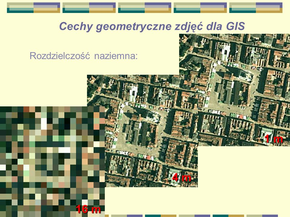 Cechy geometryczne zdjęć dla GIS Rozdzielczość naziemna: 1 m 4 m 16 m