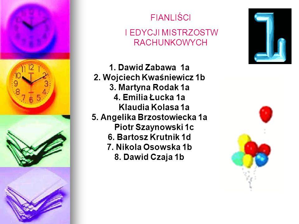 FIANLIŚCI I EDYCJI MISTRZOSTW RACHUNKOWYCH 1. Dawid Zabawa 1a 2.
