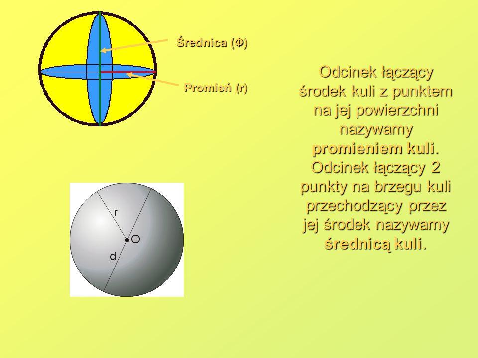Średnica (Φ) Promień (r) Odcinek łączący środek kuli z punktem na jej powierzchni nazywamy promieniem kuli. Odcinek łączący 2 punkty na brzegu kuli pr