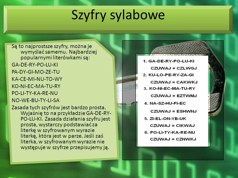 Szyfry sylabowe Są to najprostsze szyfry, można je wymyślać samemu. Najbardziej popularnymi literówkami są: GA-DE-RY-PO-LU-KI PA-DY-GI-MO-ZE-TU KA-CE-