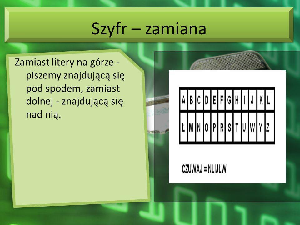 Szyfr – zamiana Zamiast litery na górze - piszemy znajdującą się pod spodem, zamiast dolnej - znajdującą się nad nią.