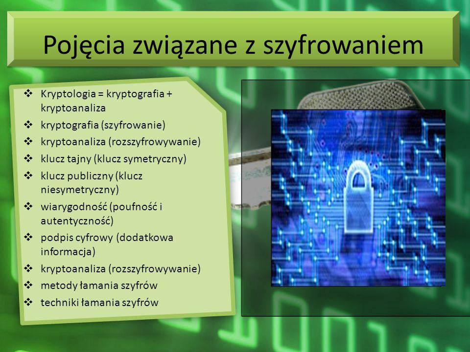 Pojęcia związane z szyfrowaniem Kryptologia = kryptografia + kryptoanaliza kryptografia (szyfrowanie) kryptoanaliza (rozszyfrowywanie) klucz tajny (kl