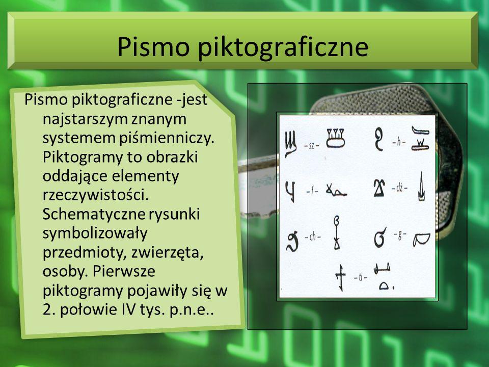 Pismo piktograficzne Pismo piktograficzne -jest najstarszym znanym systemem piśmienniczy. Piktogramy to obrazki oddające elementy rzeczywistości. Sche