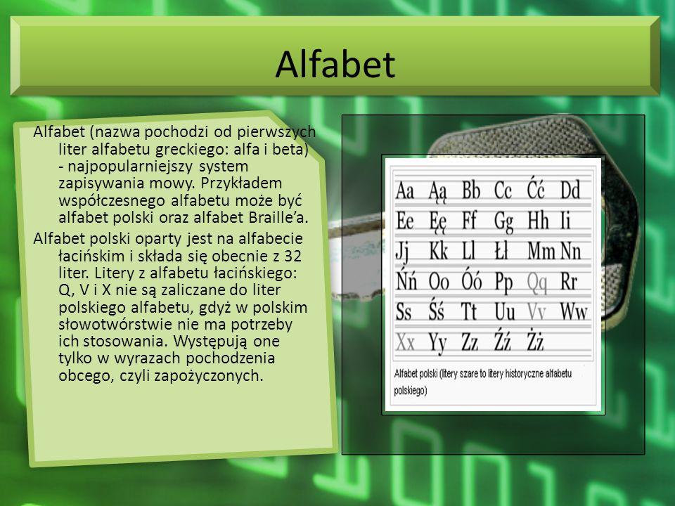 Alfabet Alfabet (nazwa pochodzi od pierwszych liter alfabetu greckiego: alfa i beta) - najpopularniejszy system zapisywania mowy. Przykładem współczes