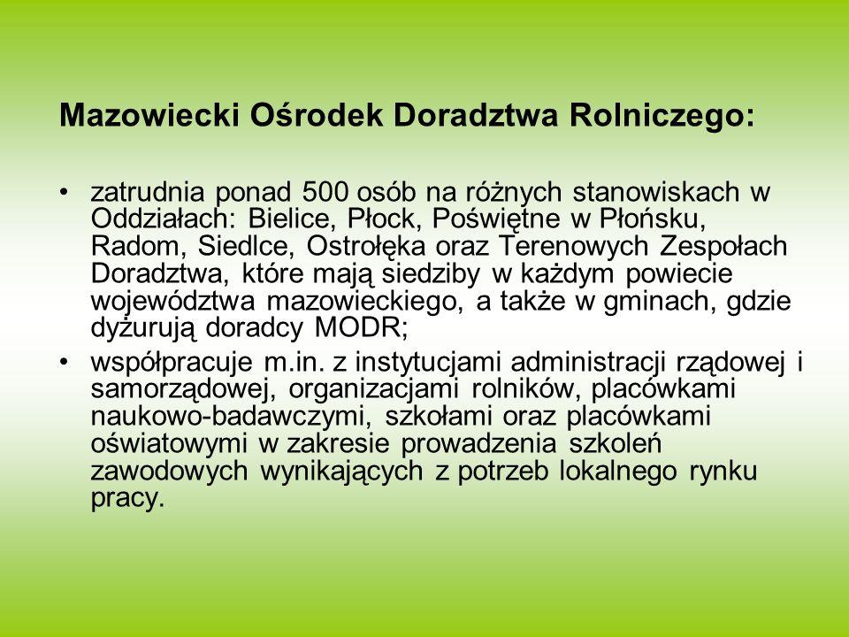 Mazowiecki Ośrodek Doradztwa Rolniczego: zatrudnia ponad 500 osób na różnych stanowiskach w Oddziałach: Bielice, Płock, Poświętne w Płońsku, Radom, Si