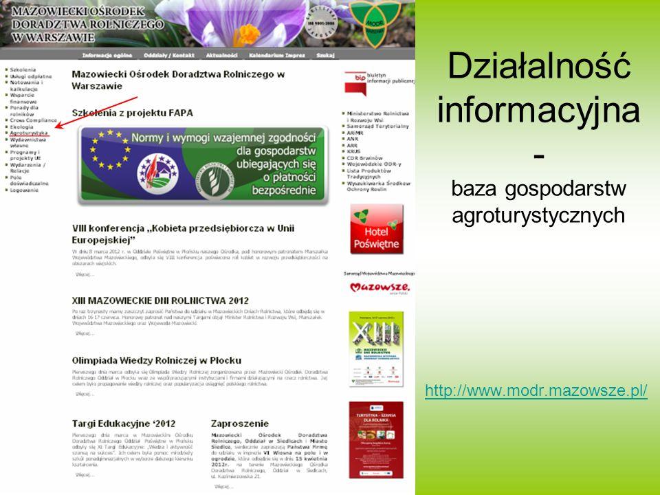 Działalność informacyjna - baza gospodarstw agroturystycznych http://www.modr.mazowsze.pl/