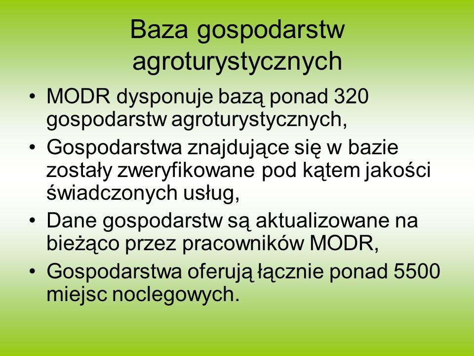 Baza gospodarstw agroturystycznych MODR dysponuje bazą ponad 320 gospodarstw agroturystycznych, Gospodarstwa znajdujące się w bazie zostały zweryfikow