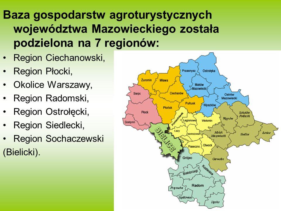 Baza gospodarstw agroturystycznych województwa Mazowieckiego została podzielona na 7 regionów: Region Ciechanowski, Region Płocki, Okolice Warszawy, R