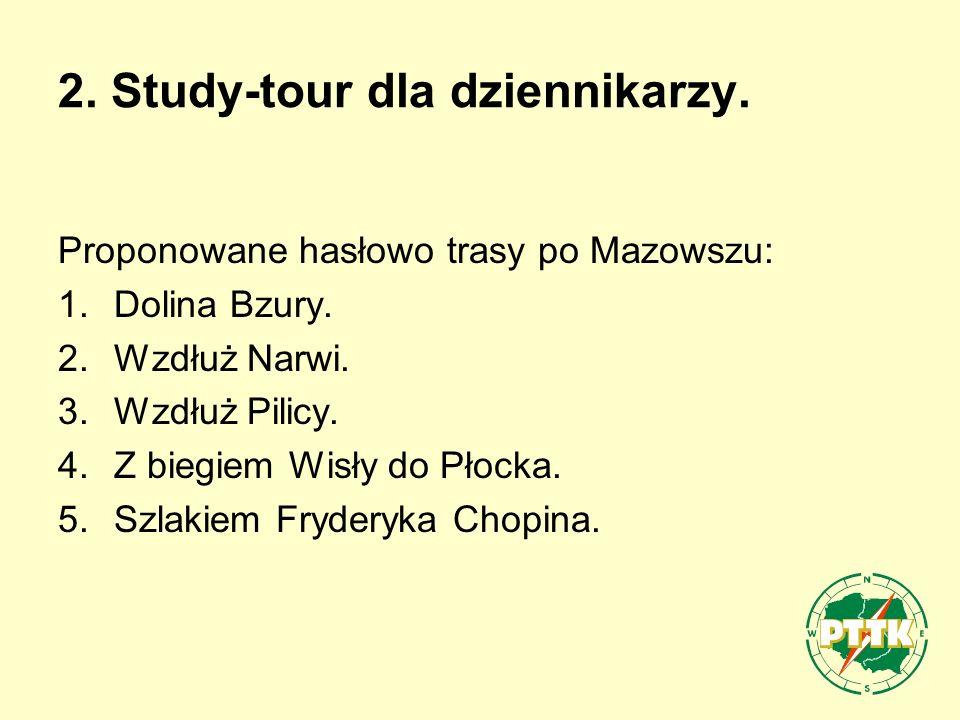 2. Study-tour dla dziennikarzy. Proponowane hasłowo trasy po Mazowszu: 1.Dolina Bzury.