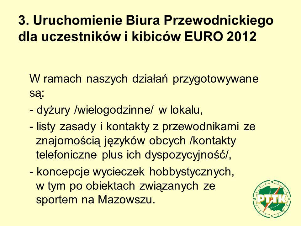 3. Uruchomienie Biura Przewodnickiego dla uczestników i kibiców EURO 2012 W ramach naszych działań przygotowywane są: - dyżury /wielogodzinne/ w lokal