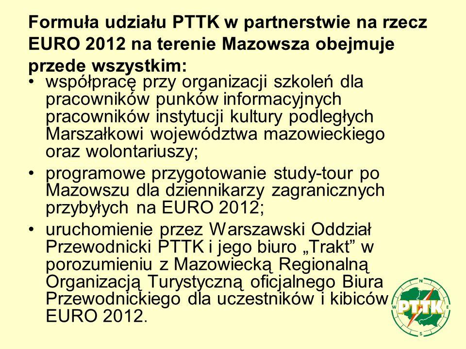 Formuła udziału PTTK w partnerstwie na rzecz EURO 2012 na terenie Mazowsza obejmuje przede wszystkim: współpracę przy organizacji szkoleń dla pracowników punków informacyjnych pracowników instytucji kultury podległych Marszałkowi województwa mazowieckiego oraz wolontariuszy; programowe przygotowanie study-tour po Mazowszu dla dziennikarzy zagranicznych przybyłych na EURO 2012; uruchomienie przez Warszawski Oddział Przewodnicki PTTK i jego biuro Trakt w porozumieniu z Mazowiecką Regionalną Organizacją Turystyczną oficjalnego Biura Przewodnickiego dla uczestników i kibiców EURO 2012.