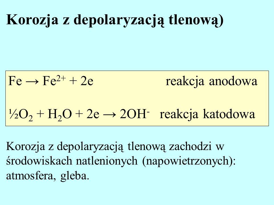 Fe Fe 2+ + 2e reakcja anodowa ½O 2 + H 2 O + 2e 2OH - reakcja katodowa Korozja z depolaryzacją tlenową) Korozja z depolaryzacją tlenową zachodzi w śro