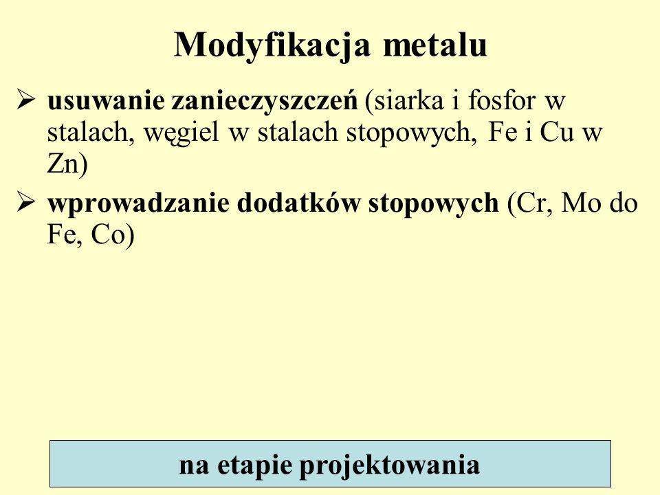 usuwanie zanieczyszczeń (siarka i fosfor w stalach, węgiel w stalach stopowych, Fe i Cu w Zn) wprowadzanie dodatków stopowych (Cr, Mo do Fe, Co) Modyf