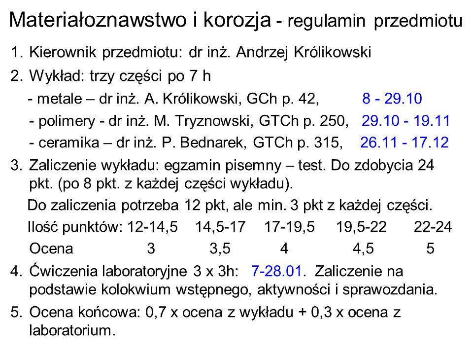 Materiałoznawstwo i korozja - regulamin przedmiotu 1.Kierownik przedmiotu: dr inż. Andrzej Królikowski 2.Wykład: trzy części po 7 h - metale – dr inż.