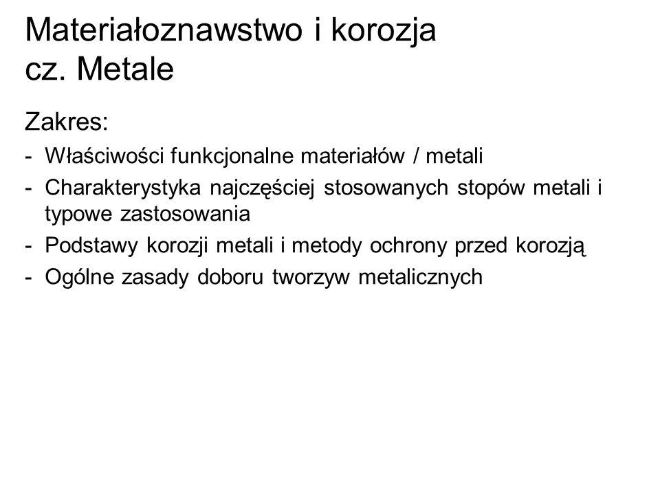 Materiałoznawstwo i korozja cz. Metale Zakres: -Właściwości funkcjonalne materiałów / metali -Charakterystyka najczęściej stosowanych stopów metali i