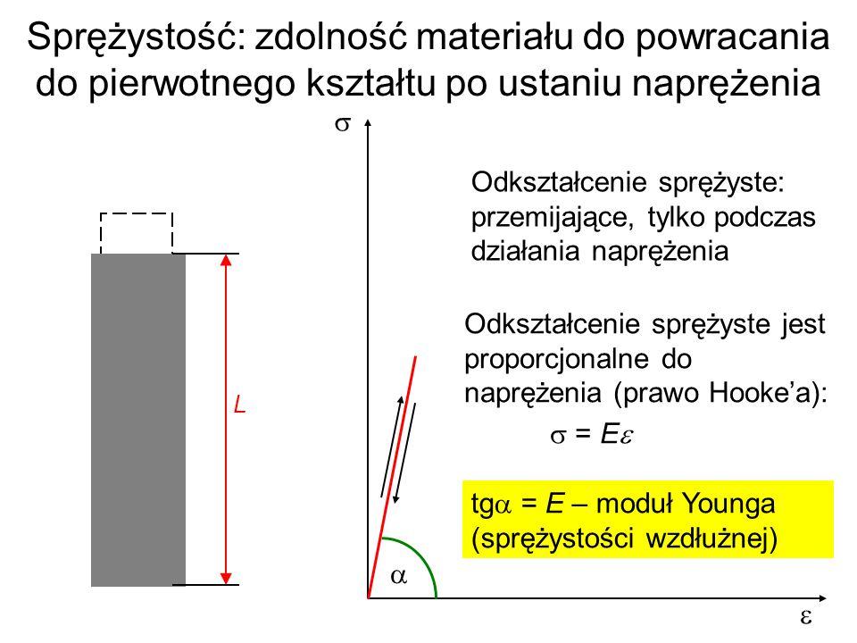 Sprężystość: zdolność materiału do powracania do pierwotnego kształtu po ustaniu naprężenia L Odkształcenie sprężyste: przemijające, tylko podczas dzi