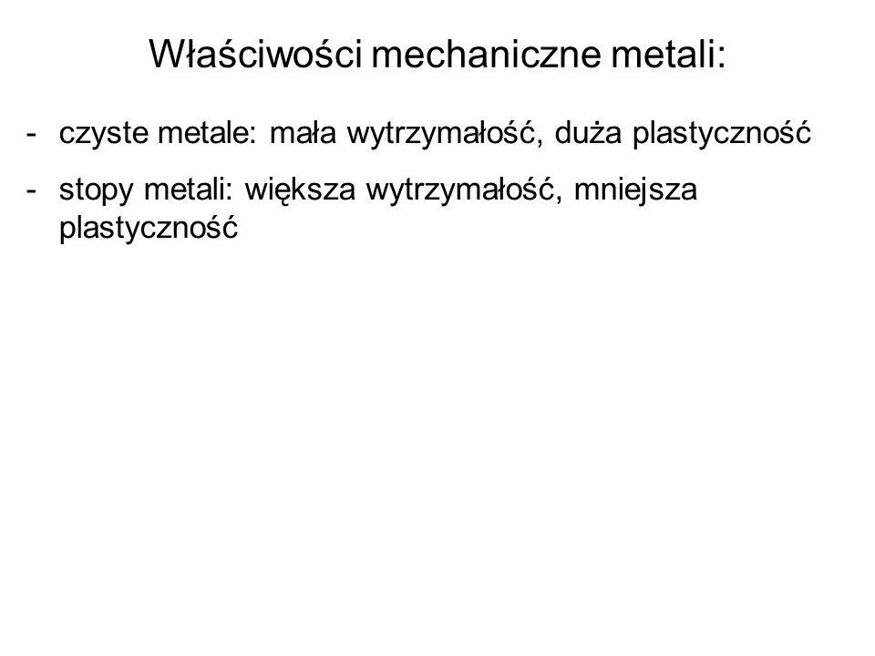 Właściwości mechaniczne metali: -czyste metale: mała wytrzymałość, duża plastyczność -stopy metali: większa wytrzymałość, mniejsza plastyczność