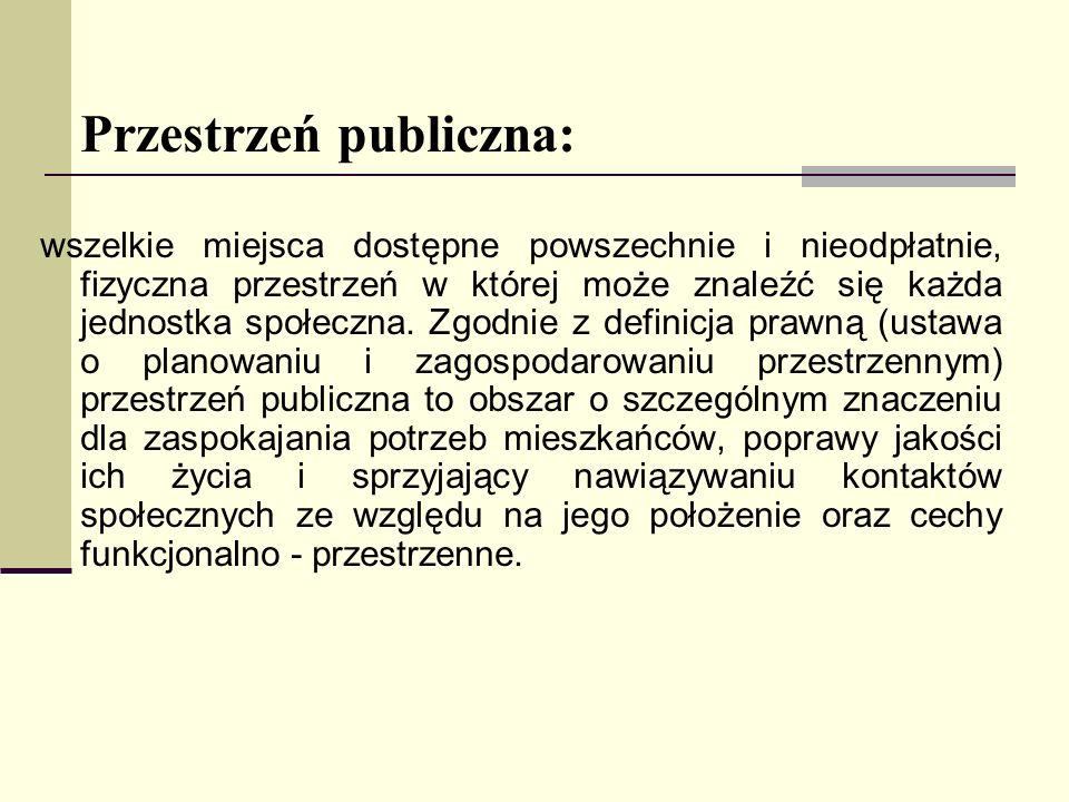 Przestrzeń publiczna: wszelkie miejsca dostępne powszechnie i nieodpłatnie, fizyczna przestrzeń w której może znaleźć się każda jednostka społeczna. Z