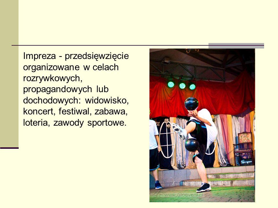 Impreza - przedsięwzięcie organizowane w celach rozrywkowych, propagandowych lub dochodowych: widowisko, koncert, festiwal, zabawa, loteria, zawody sp