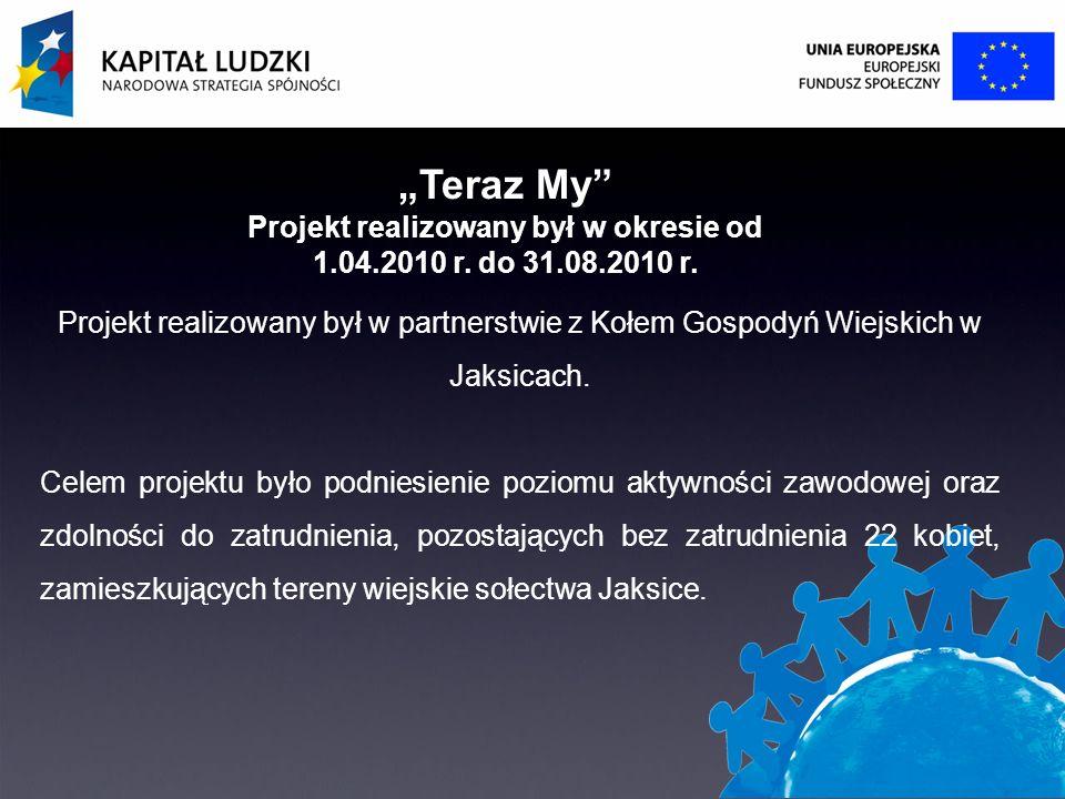 Teraz My Projekt realizowany był w okresie od 1.04.2010 r.