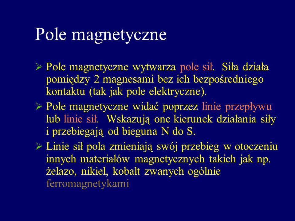 Pole magnetyczne Pole magnetyczne wytwarza pole sił. Siła działa pomiędzy 2 magnesami bez ich bezpośredniego kontaktu (tak jak pole elektryczne). Pole