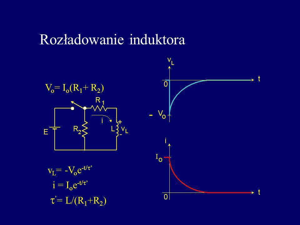 Rozładowanie induktora v L = -V o e -t/ i = I o e -t/ = L/(R 1 +R 2 ) V o = I o (R 1 + R 2 ) -