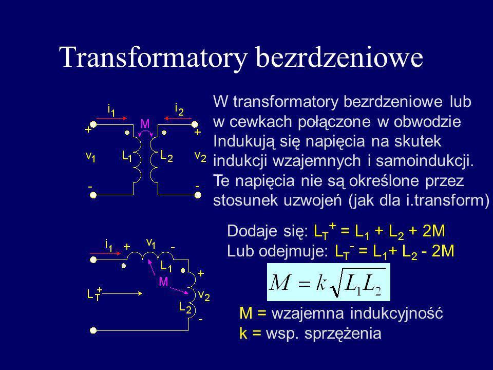 Transformatory bezrdzeniowe W transformatory bezrdzeniowe lub w cewkach połączone w obwodzie Indukują się napięcia na skutek indukcji wzajemnych i sam