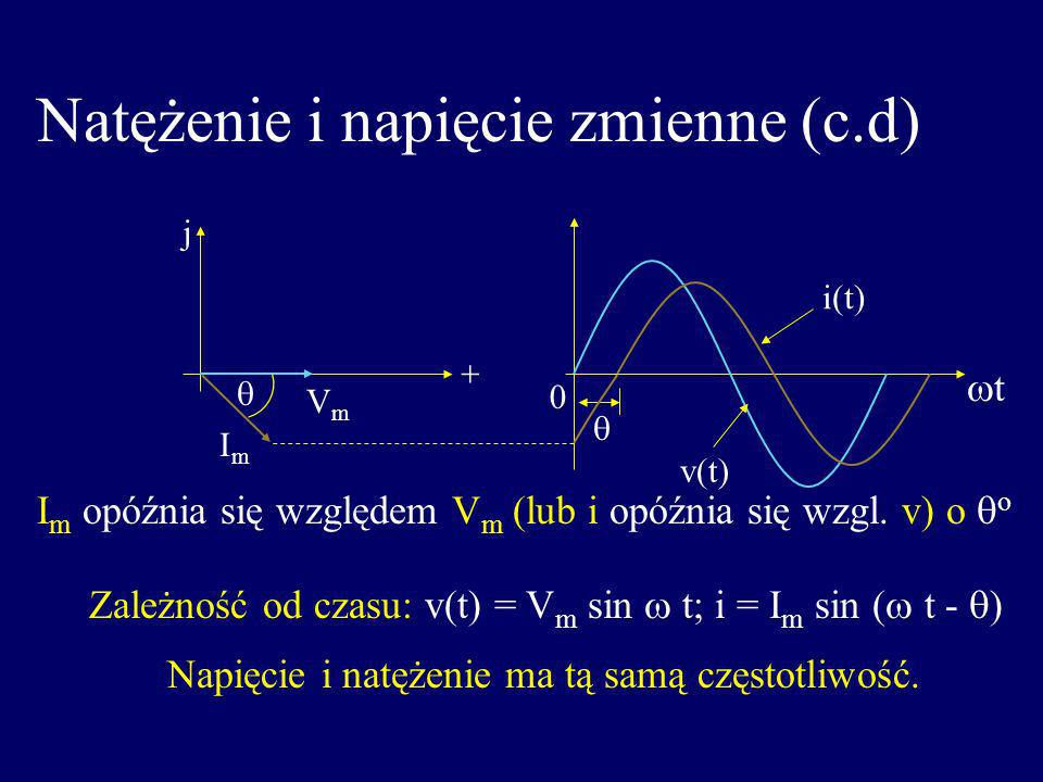 Natężenie i napięcie zmienne (c.d) j t VmVm ImIm i(t) v(t) I m opóźnia się względem V m (lub i opóźnia się wzgl. v) o o Zależność od czasu: v(t) = V m