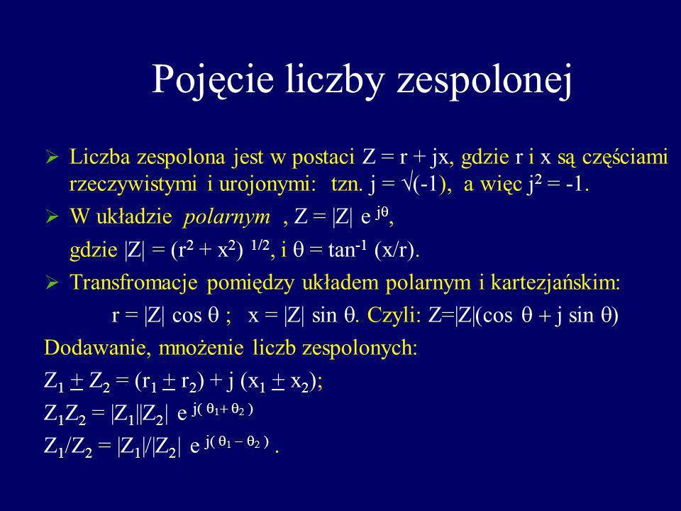 Pojęcie liczby zespolonej Liczba zespolona jest w postaci Z = r + jx, gdzie r i x są częściami rzeczywistymi i urojonymi: tzn. j = (-1), a więc j 2 =