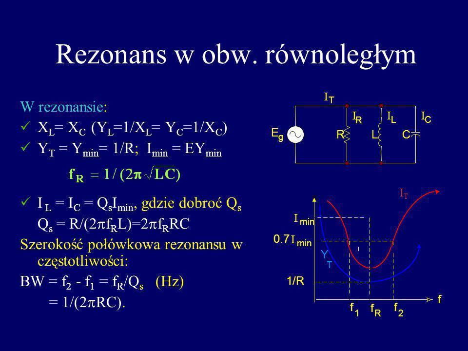 Rezonans w obw. równoległym W rezonansie: X L = X C (Y L =1/X L = Y C =1/X C ) Y T = Y min = 1/R; I min = EY min I L = I C = Q s I min, gdzie dobroć Q