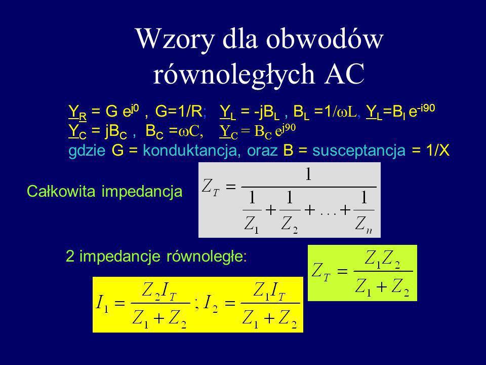 Wzory dla obwodów równoległych AC Całkowita impedancja 2 impedancje równoległe: Y R = G e j0, G=1/R; Y L = -jB L, B L =1 L Y L =B l e -i90 Y C = jB C,