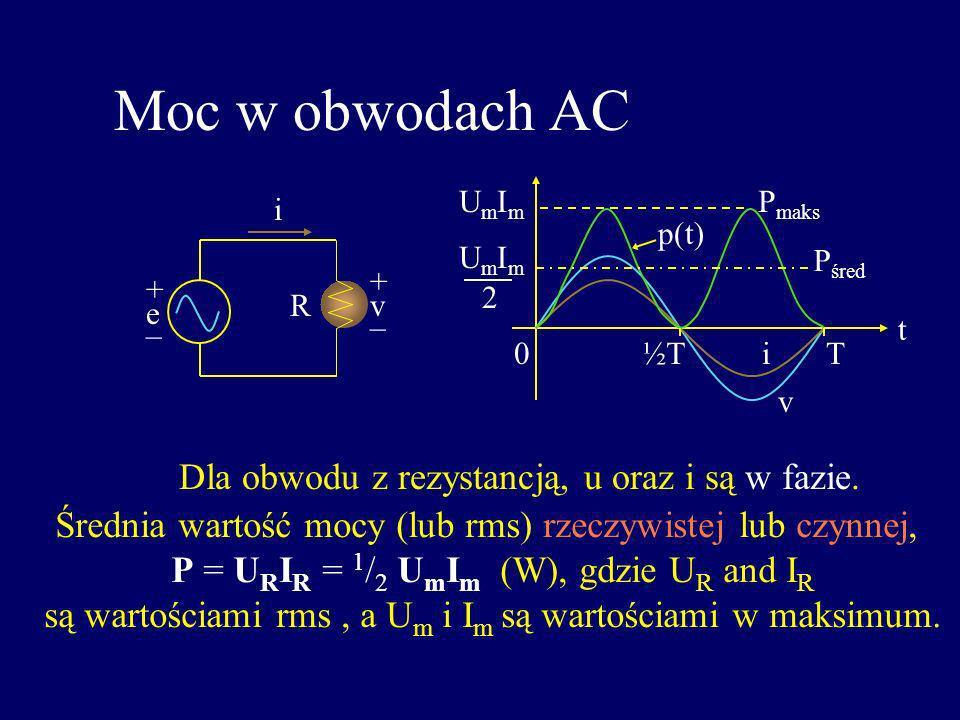 Moc w obwodach AC i + v _ R e + _ P śred t UmImUmIm P maks UmImUmIm 2 0½TT p(t) Dla obwodu z rezystancją, u oraz i są w fazie. Średnia wartość mocy (l