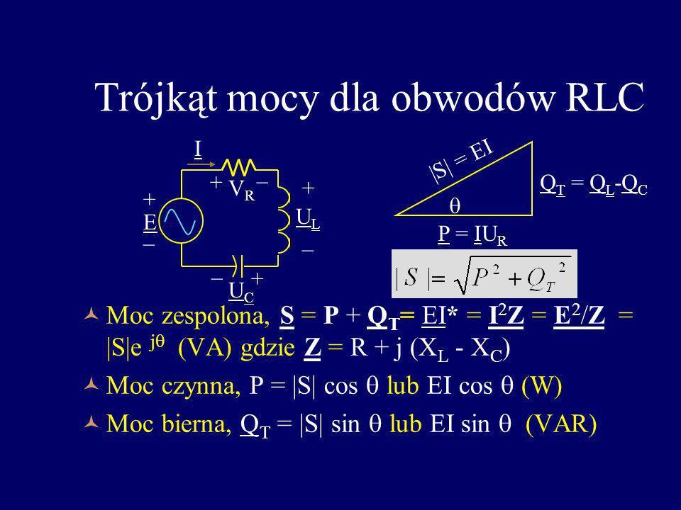 Trójkąt mocy dla obwodów RLC Moc zespolona, S = P + Q T = EI* = I 2 Z = E 2 /Z =  S e j (VA) gdzie Z = R + j (X L - X C ) Moc czynna, P =  S  cos lub